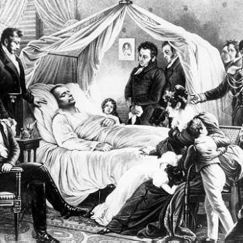 Napoleon on his deathbed with a glass of Vin de Constance
