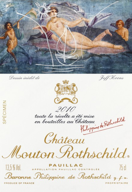 Château Mouton Rothschild 2010 label by Jeff Koons