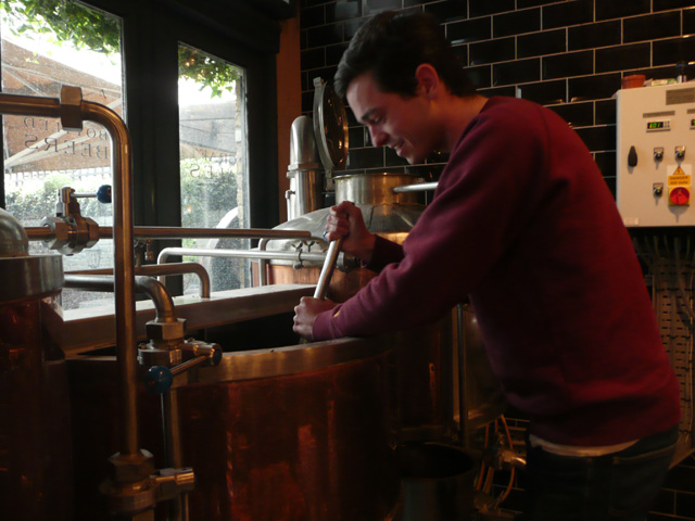 Sam Lloyd of Craft Beer Rising starts making the festival beer - a black IPA with a hint of horseradish - at The Lamb Brewery.