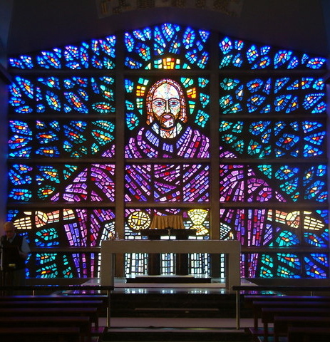 Stained glass in Buckfast Abbey