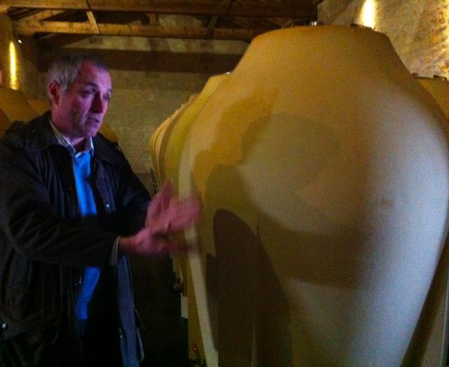 Jean-Michel Comme shows off Pontet-Canet's amphorae