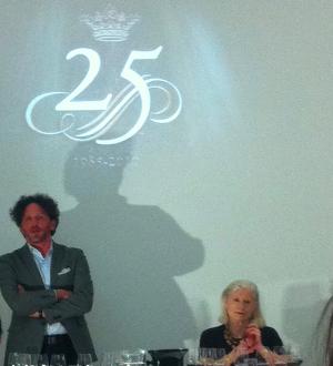 Ornellaia winemaker Axel Heinz with Sotheby's Serena Sutcliffe MW