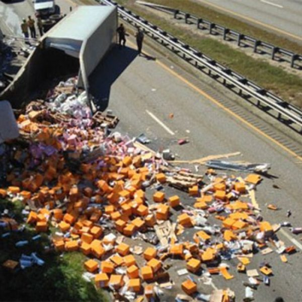 Truck crash sees Champagne spilled across motorway