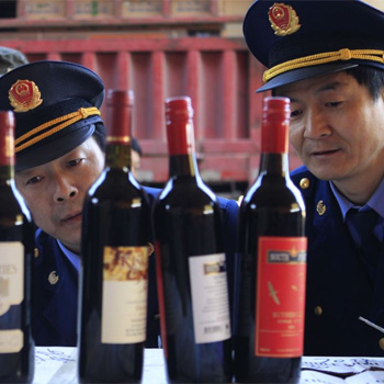 China fake wine police