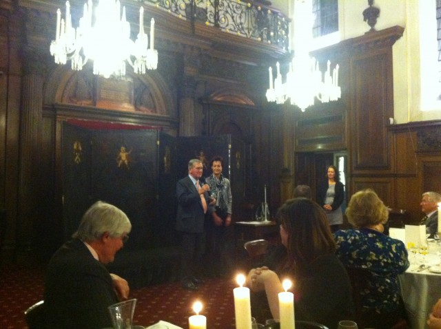Riesling Fellow Hugh Johnson with Monika Reule of the German Wine Institute