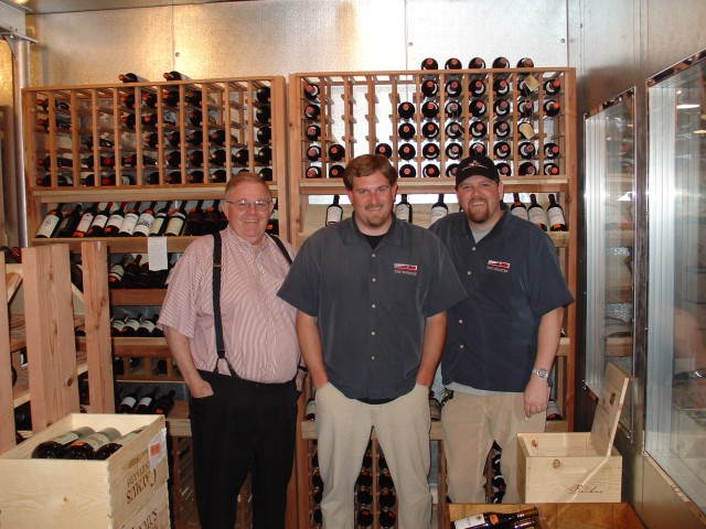 Bill, Jim and Glen Knight don't store their wines this high as a rule.