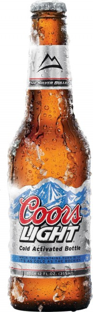 Cold activated Coors Light bottle.