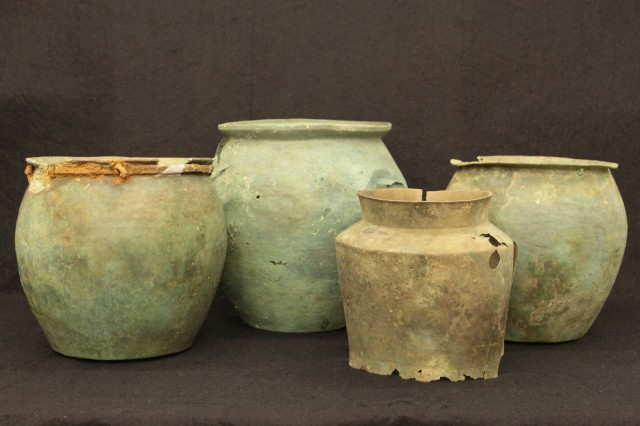 Bronze vessels from Nancy de Grummond's four-year excavation of an Etruscan well at the ancient Italian settlement of Cetamura del Chianti.