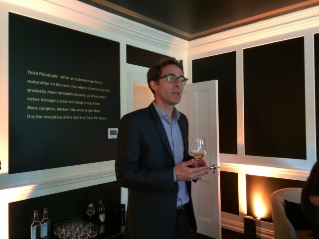 Dom Pérignon oenologist Vincent Chaperon discusses the house's philosophy at an event in London this week.