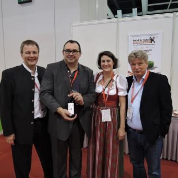 Austrian winemaker Walter Berl, Franz Jagersberger  from Winery JbN, Austria Consul General Dr Claudia Reinprecht and Robert Strasser from RTW at Hofex