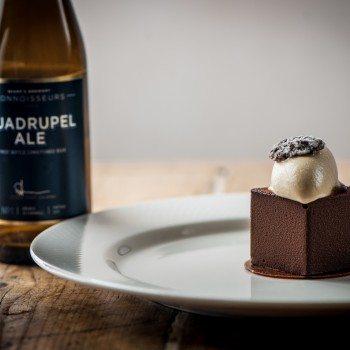 Quadrupel Ale and chocolate cake with salt caramel ice cream