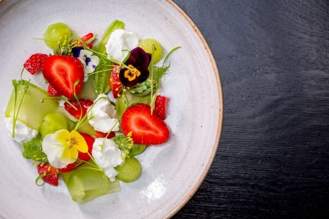 Avenue - Blossom City - Pickled cucumber and strawberry salad, bee polen