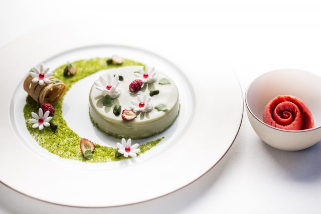 Pistachio and Strawberry Field - in celebration of the Chlesea Flower Show at Alain Ducasse at The Dorchester copy