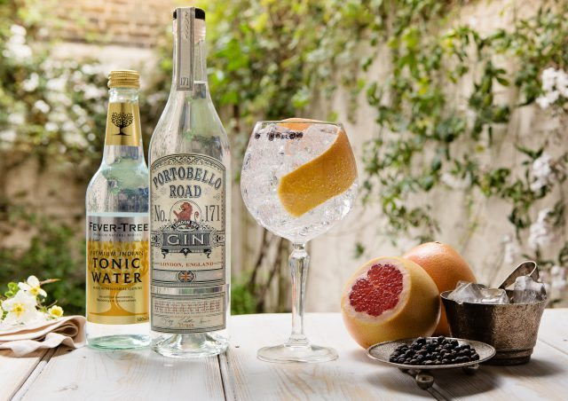 The Portobello Road Gin Summer Copa with bottle and FeverTree