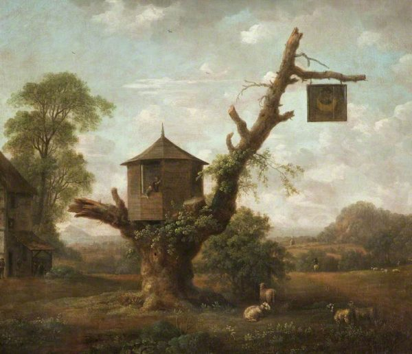 18th century painting of treehouse pub sparks intrigue