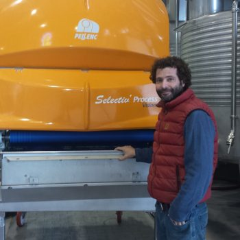 ariel-ben-zaken-the-youngest-son-and-the-winerys-ceo-next-to-its-optical-sorter