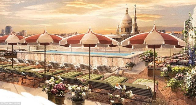 An artists's impression of The Ned's roof terrace