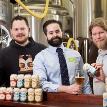 Wayne Smith and Lee Grabham of microbrewery Brew York with Asda local BWS and core ambient buying manager Alan Jackson