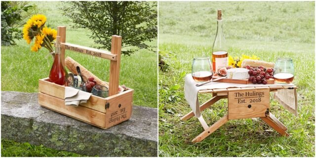 Personalised wine carrier and picnic table