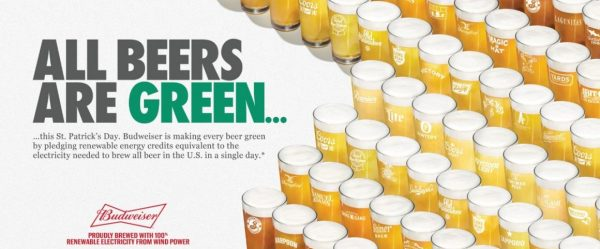 Budweiser is turning all beer 'green' on St Patrick's Day with renewable energy certificates