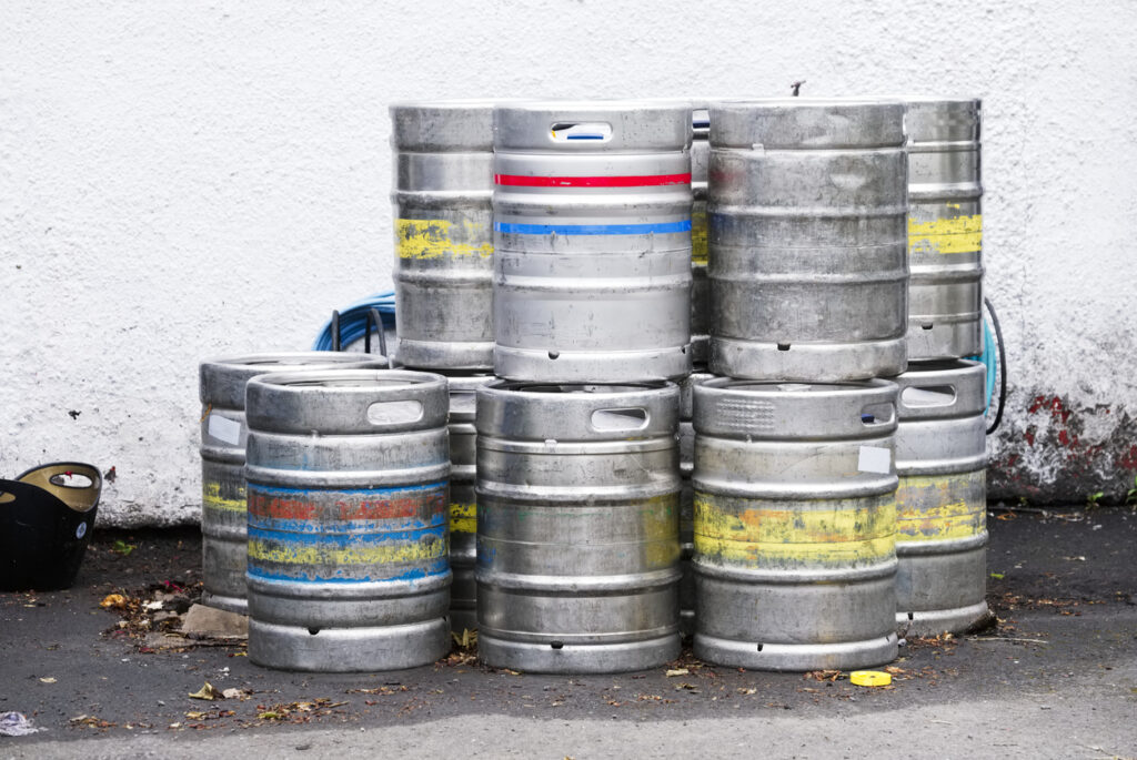 Beer thieves: kegs of beer stacked up