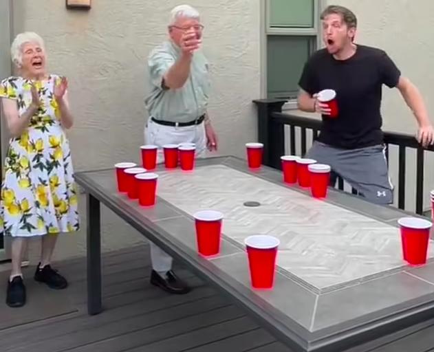 Grandparents beer pong