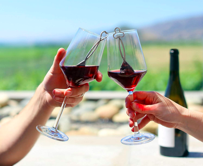 reduce your hangover - wine wand product in a pair of wine glasses