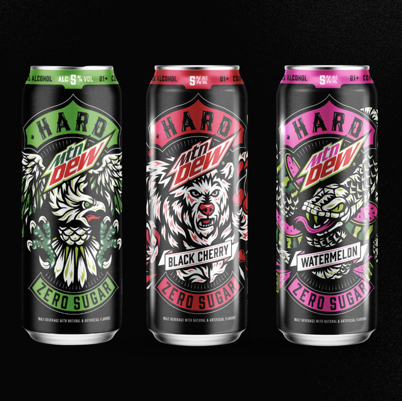 Three cans of the new hard mountain dew: PepsiCo teams up with the Boston Beer Company to create new hard MTN DEW