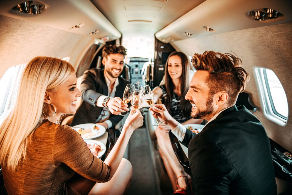 Hamptons Champagne shortage - people drink Champagne on private plane