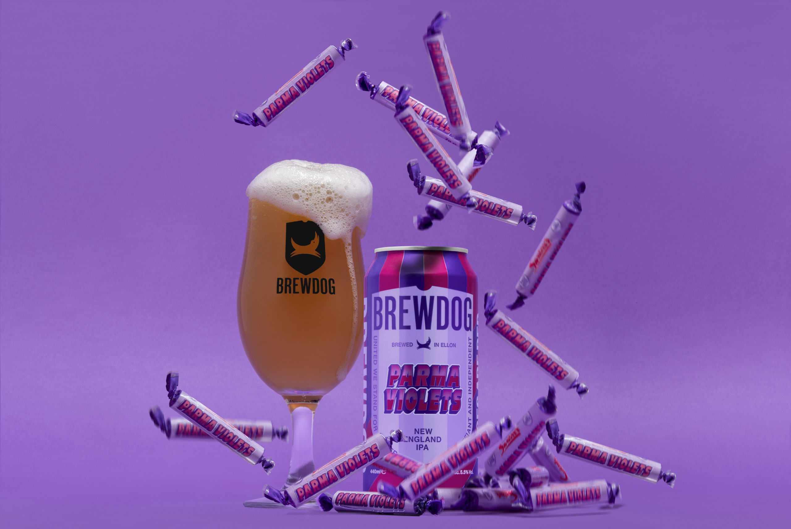 Can and glass of new Parme Violet beer: BrewDog launches Parma Violet flavoured beer