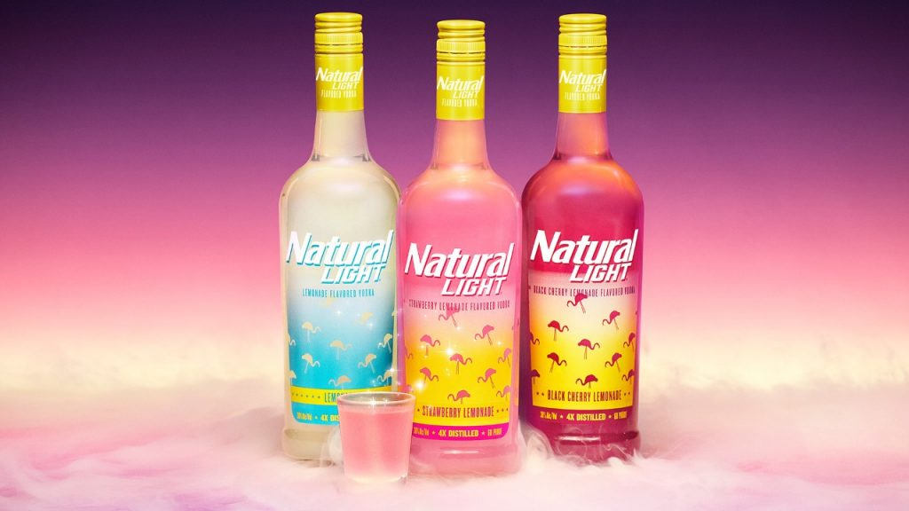 Bottles of Natty Light vodka: Beer brand natural light moves into spirits category with new lemonade vodka range