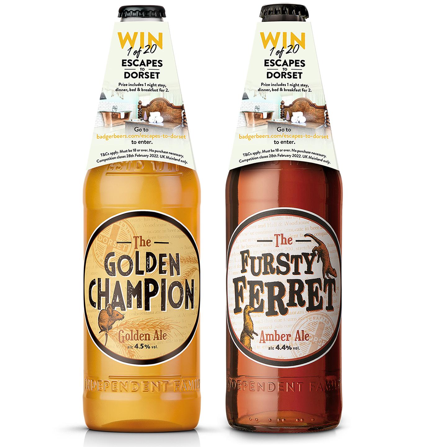 Badger Beer bottle shots: Ale brand badger beers offers Dorset staycations in on-pack promotion