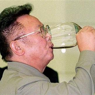 Kim Jong-il drinking
