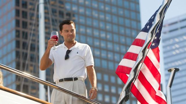 Leonardo DiCaprio playing Jordan Belfort in The Wolf of Wall Street