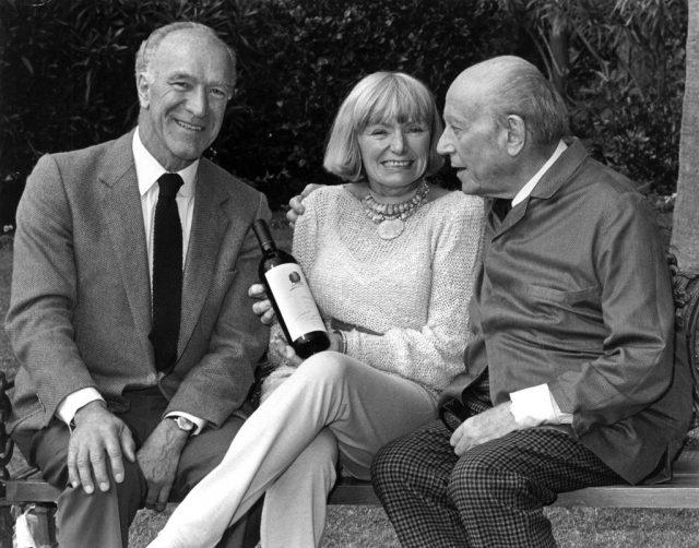 Margaret Mondavi with late husband Robert Mondavi and Baron Philippe de Rothschild